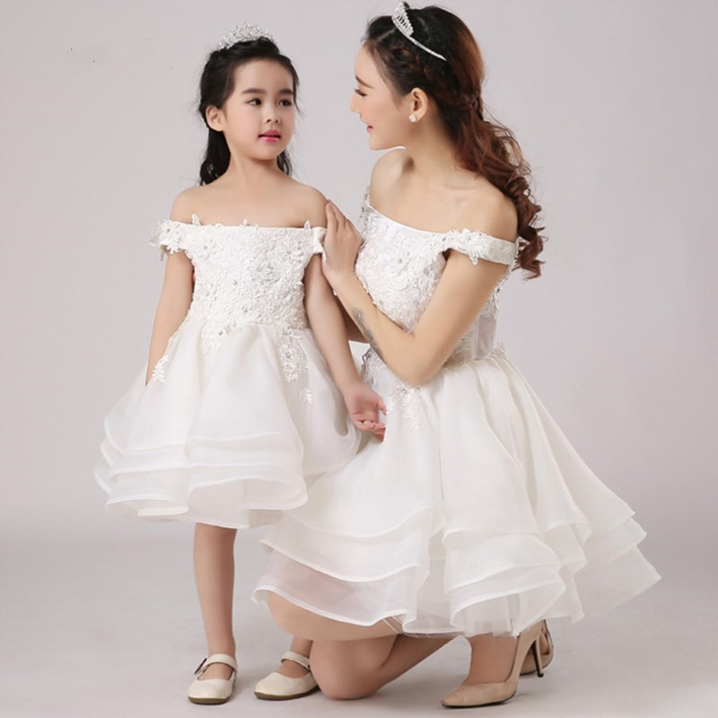 Mother Daughter Wedding Dress Girls Prom Gown Momm Kids Ruffled Tutu Bubble Dresses White Off One Shoulder Dress PerformanceMother Daughter Wedding Dress Girls Prom Gown Momm Kids Ruffled Tutu Bubble Dresses White Off One Shoulder Dress Performance