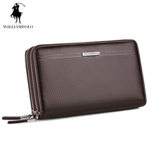 WilliamPOLO 2017 Leather Vintage Solid Clutch Bag Phone Cases Brand Mens Wallet Double Zipper Genuine Leather Bag POLO163