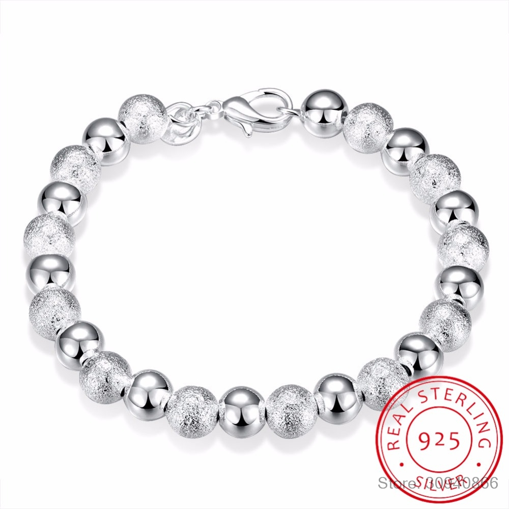 LEKANI 8mm Beaded 925 Sterling Silver Bracelets Bangle For Women Trendy Fine Jewelry Wholesale Mens Silver Cuff Bracelet Pulsera