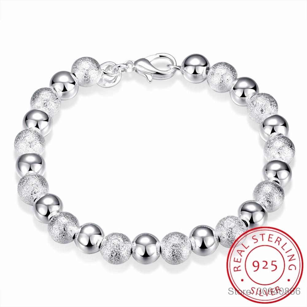 LEKANI 8mm Beaded 925 Sterling Silver Bracelets Bangle For Women Trendy Fine Jewelry Wholesale Mens Silver Cuff Bracelet Pulsera