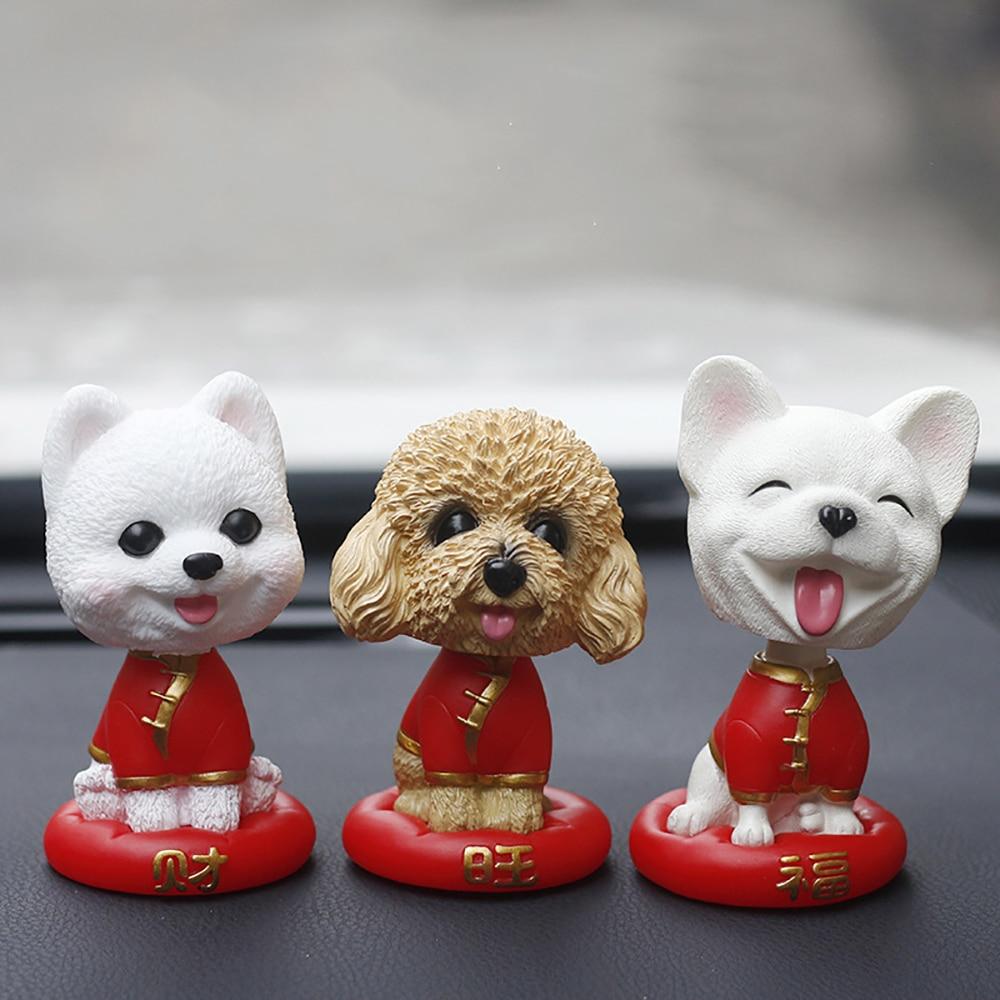 Car Ornament PVC Decoration Shaking Head Dog Doll Toys Automotive Interior Decor Nodding Bulldog Ornaments Cute Car Accessories