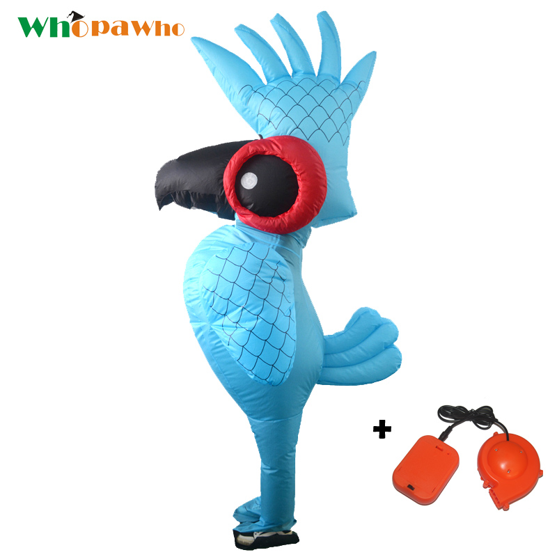 Blue Parrot Inflatable Cosplay Costume Cartoon Animal Parrot Clothes Adult Halloween Party Costumes