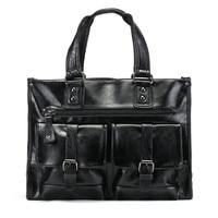 PU Leather Laptop Bag 13 14 Large Capacity Totes Handbags Men S Business Shoulder Bags Casual