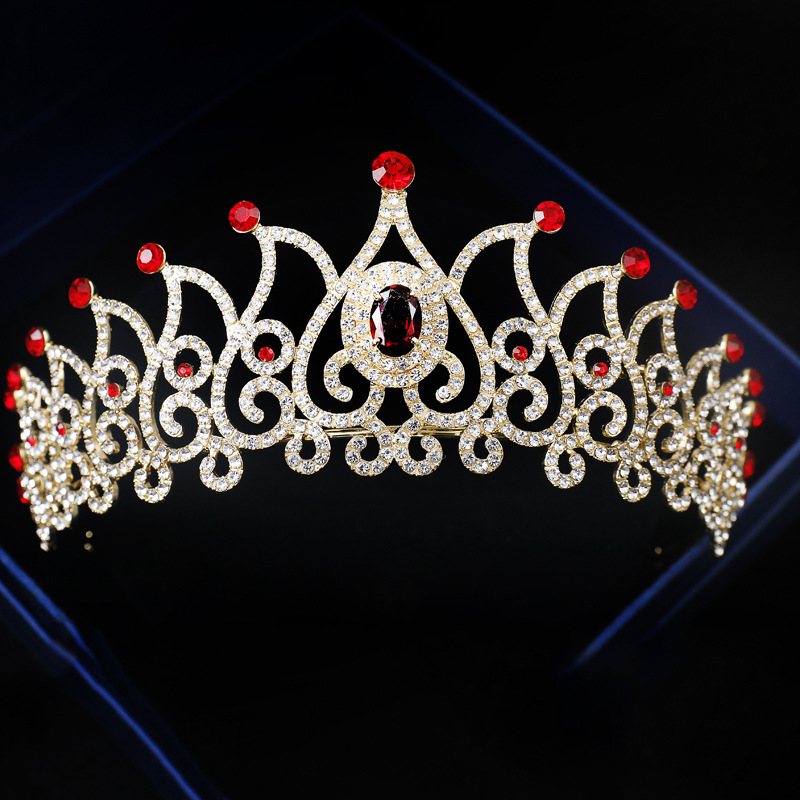 Baroque Sparkling Gold Red Crystal Crown Wedding Diamante Pageant Tiaras Rhinestone Bridal Crowns For Brides Hair Accessories