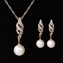 Earrings-Sets Necklaces Pendants Rhinestone Gold Bridal Fashion Women Pearl
