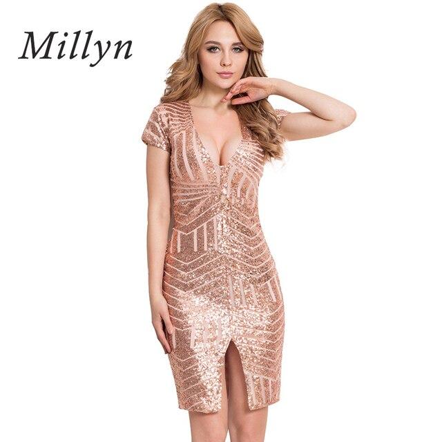 2260ed51d7f8d6 Europa dames goud zwart pailletten v hals mouwloze low cut jurken ...