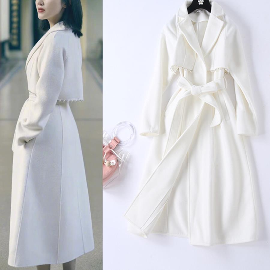 Beading Women White Woolen Long Coat Autumn Winter Tops With Sash Long Sleeve Wool Blends 2019 Classy Elegant Overcoat
