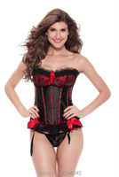 Fashion sexy ladies double satin lace bow body with Lady corset Red & Purple & Green & powder