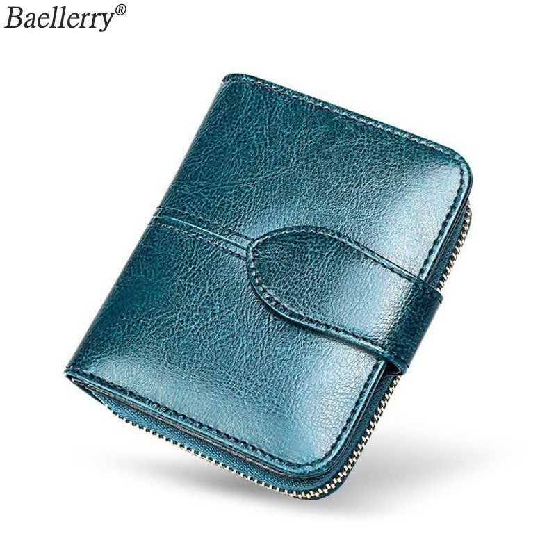 New Bifold Oil Wax Genuine Leather Women Mini Clutch Wallet Soild Color Coin Pocket Purse Women Leather Card Holder Wallet Bag(China)