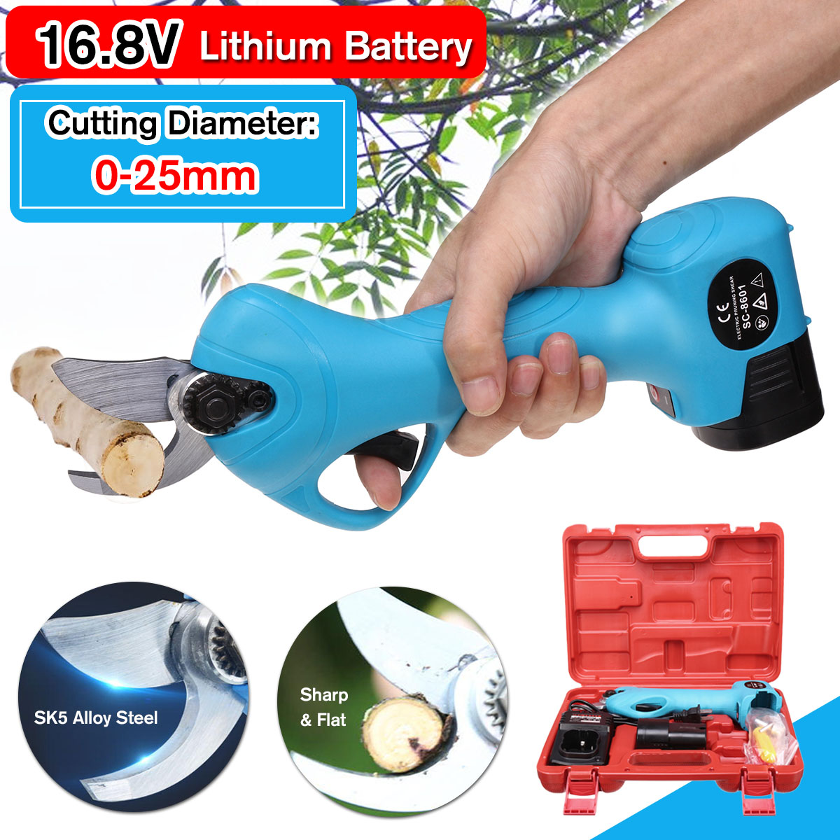 NEW 16.8V Li-ion Battery Rechargeable Wireless Electric Scissors Pruning Shears Tree Garden Tool Branches Pruning Tools