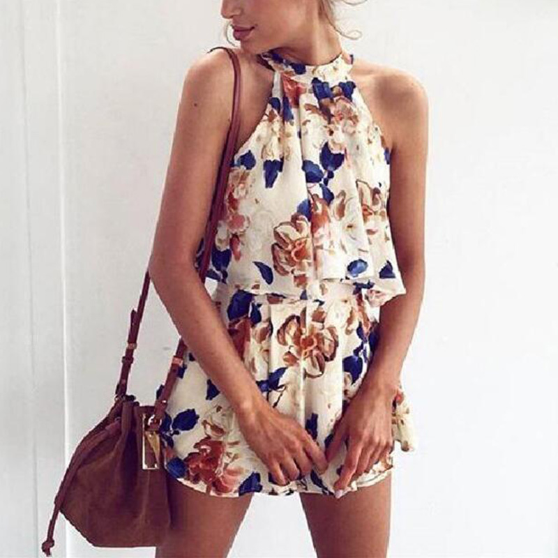 2018 Summer New Bohemian Beach Casual Print Floral Playsuit Sexy Backless Lace Up Loose Overall Bodysuit Rompers Womens Jumpsuit