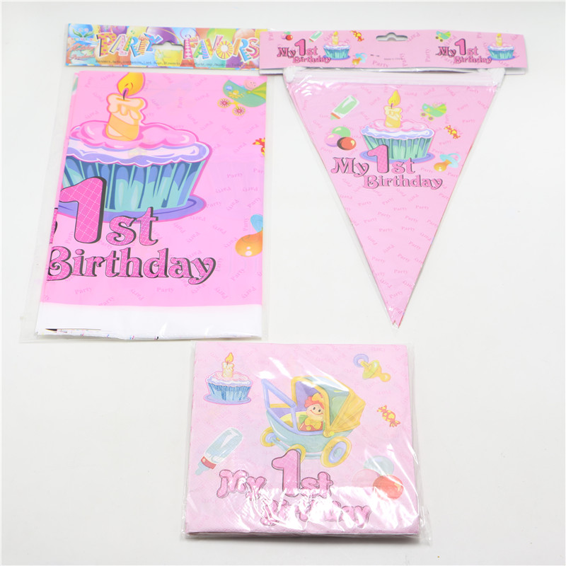 22pcs Kids 1st Birthday Party Decorations PE Pink Cartoon Pennant Gift Bags Table Cloth For Decoration Baby Shower Favors