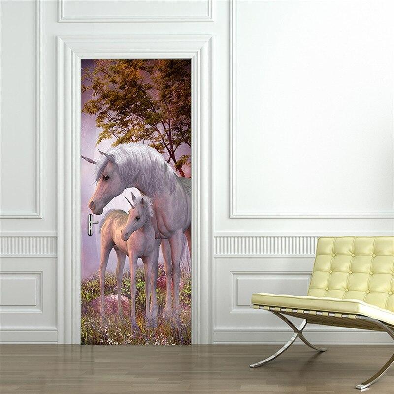 Image 5 - Mystery Animal White Unicorn European Home Decoration 3D Door Stickers The Door Stick Kids Room Art Decal Decoration For Doors-in Door Stickers from Home & Garden