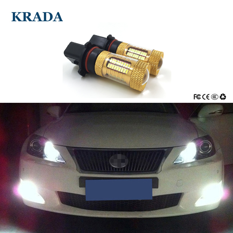 KRADA 2pcs Car P13W PSX26W Led Canbus High Power White Fog Light Lamp DRL Day Light Bulbs 12v for Audi A4 Quattro B8 S4 Q5 B5 B6 2pcs car led headlight kit led bulb d33 h11 free canbus auto led lamps white headlamp with yellow light fog light for citroen c4