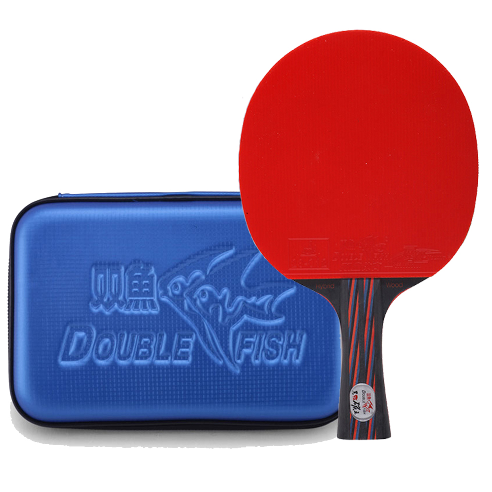 Double Fish Red-Black Carbon fiber Table tennis racket Pingpong Flared Paddle Bats ITTF approved rubber with waterproof PU case strapless playsuit with flared sleeves