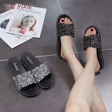 ALL YIXIE 2019 Summer New Fashion Sequins Casual Womens Shoes Sandals and Slippers Flat Flip-flops Beach