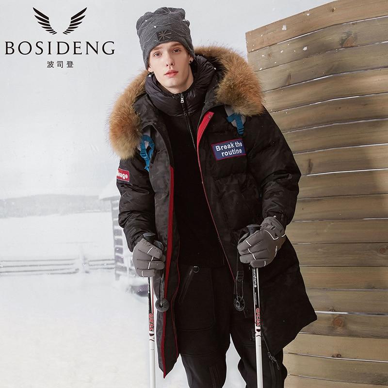 online store e211c e443e US $446.73 |BOSIDENG Herren Winter Mode Daunenjacke Kapuze Ente  Daunenmantel mann Mit Kapuze Lange Daunenjacke Parka Big Echtpelz Dicker  Outwear ...