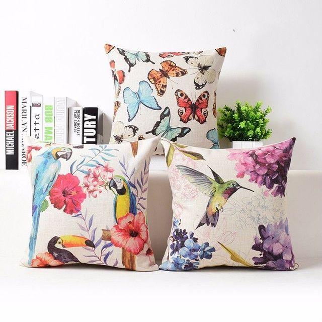 Bird Parrot Erfly Cushion Cover Animal Pattern Decorative Throw Pillow Case Linen Beautiful Covers Hummingbird Home