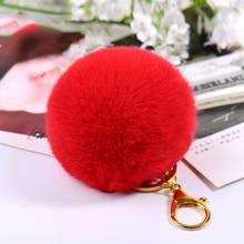 Cheap 8CM Rabbit Fur Ball Puff Keychain Pompons Fluffy Keyring Llavero Pom Key Chain for Keys Bag Pendant