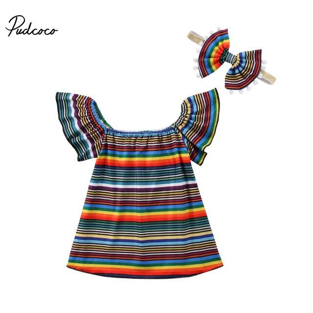 e211e6045 2018 Brand New Toddler Infant Baby Girls Kids Dress Princess Rainbow ...