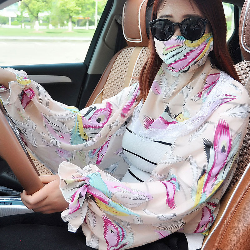 3pcs/Pack Women Face Mouth Masks Sun Summer Motorcycle Scarf Skeleton Anti Ultraviolet Protective Neck Mask Sleeve Chiffon Scarf