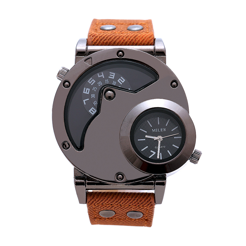 Luxury Genuine Leather font b Men s b font Business Watch Double Time Zone font b