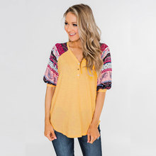 Color Stripe Print Women Tops V-neck camiseta mujer Summer Casual T shirt Loose Half Sleeve Tee D20