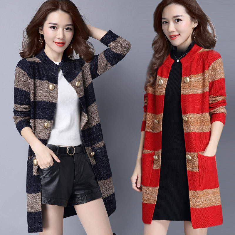 Womens knitted cardigan 2017 new models long fashion sweater tide Korean version of large size elastic jacket 033