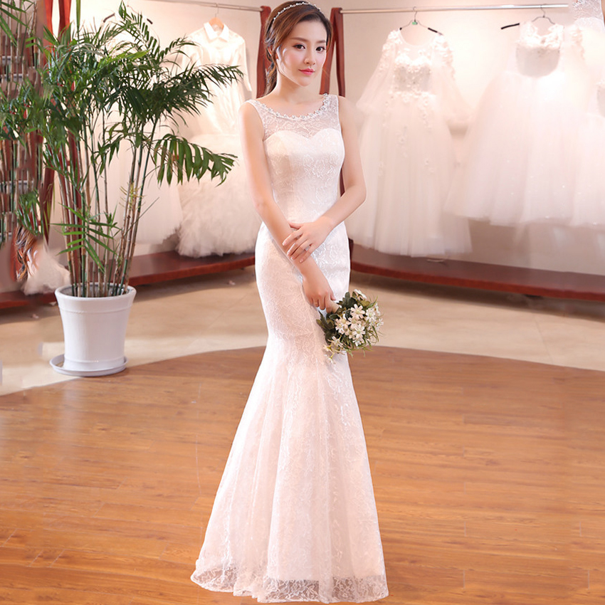 SEXY Lace Mermaid Wedding Dress Vestidos De Noiva Fotos Reais Sleeveless White Long Bridal Dresses Formal Gowns Custom Made