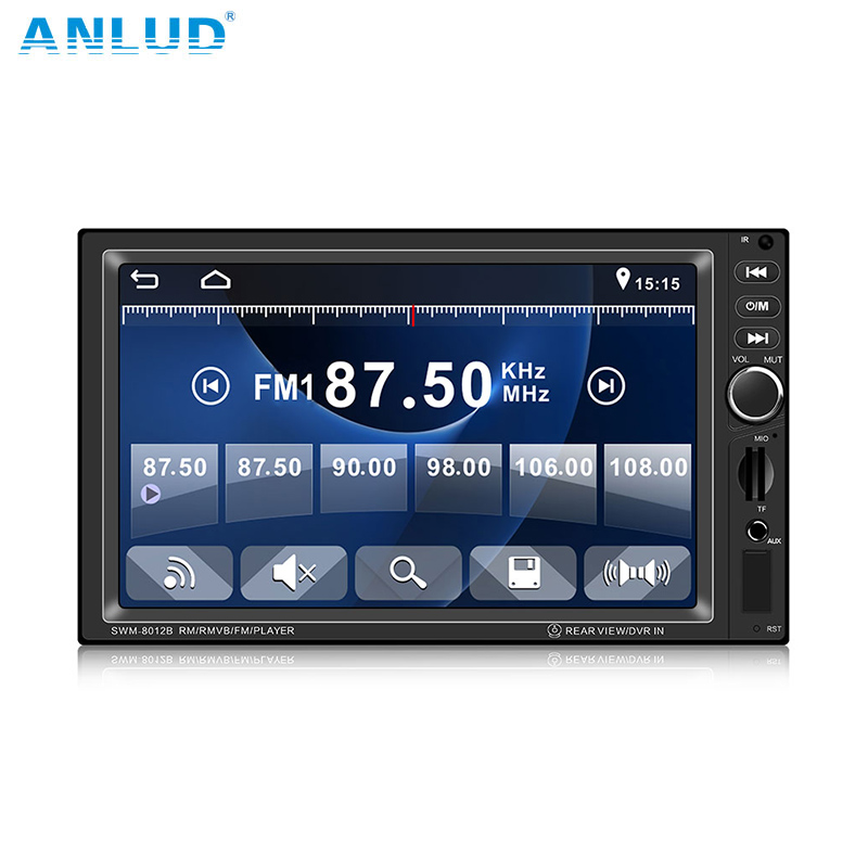 ANLUD Car Monitor 7 LCD Touch Screen 2DIN MP5 Player Autoradio In-Dash FM Radio USB AUX/TF with Remote for Rear View Camera image