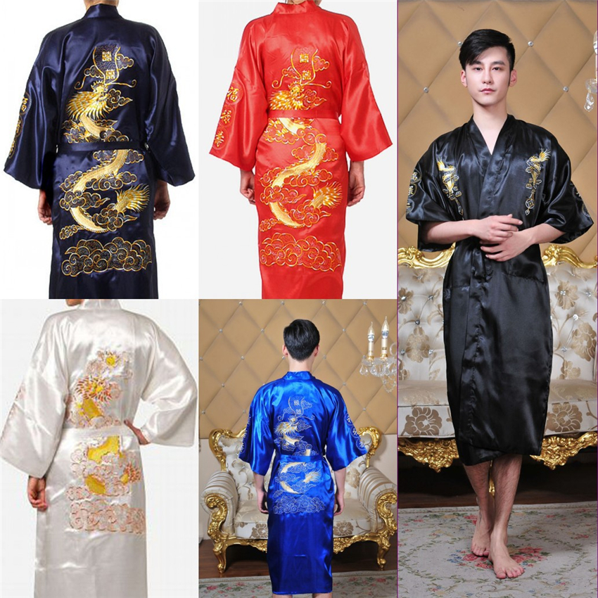 Traditional Chinese Clothing For Mens Tang Suit Pajamas Long Sleeve Dragon Pajamas Men Asian Bathrobe Yukata Night Gown Robes