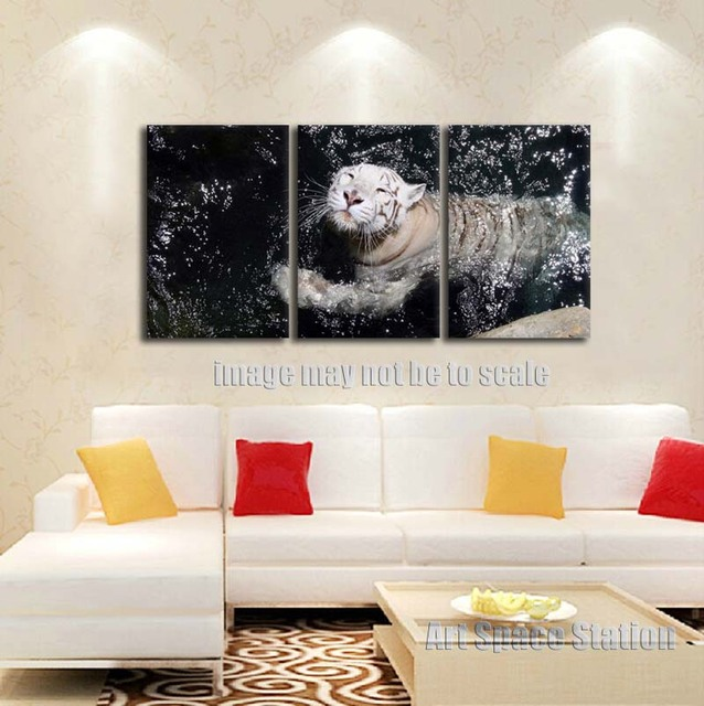 White Tiger Poster Large Wall Art 3 Piece Black White Wild Animals