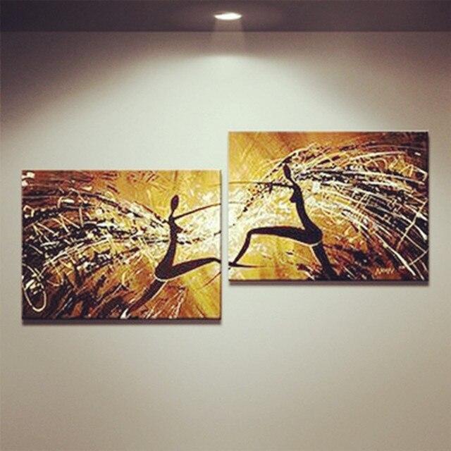 Unframed 2 Panel Handpainted Ballet Dancer Abstract Modern Wall Art ...