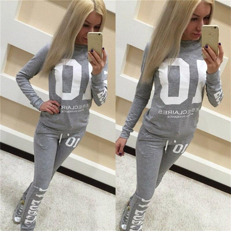 2017 Women Sport Long Sleeve Suit font b Lady b font Fashion Letter Print Sweatshirt Long