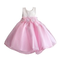 Flower Girls Dress Top Quality Children 3D Flower Wedding Graduation Party Ball Gown Fashion Kids Clothing