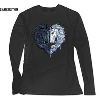 SAMCUSTOM 2017 New Fashion Long Sleeve T Shirt Women Love Horses 3D Print Personality Casual Female