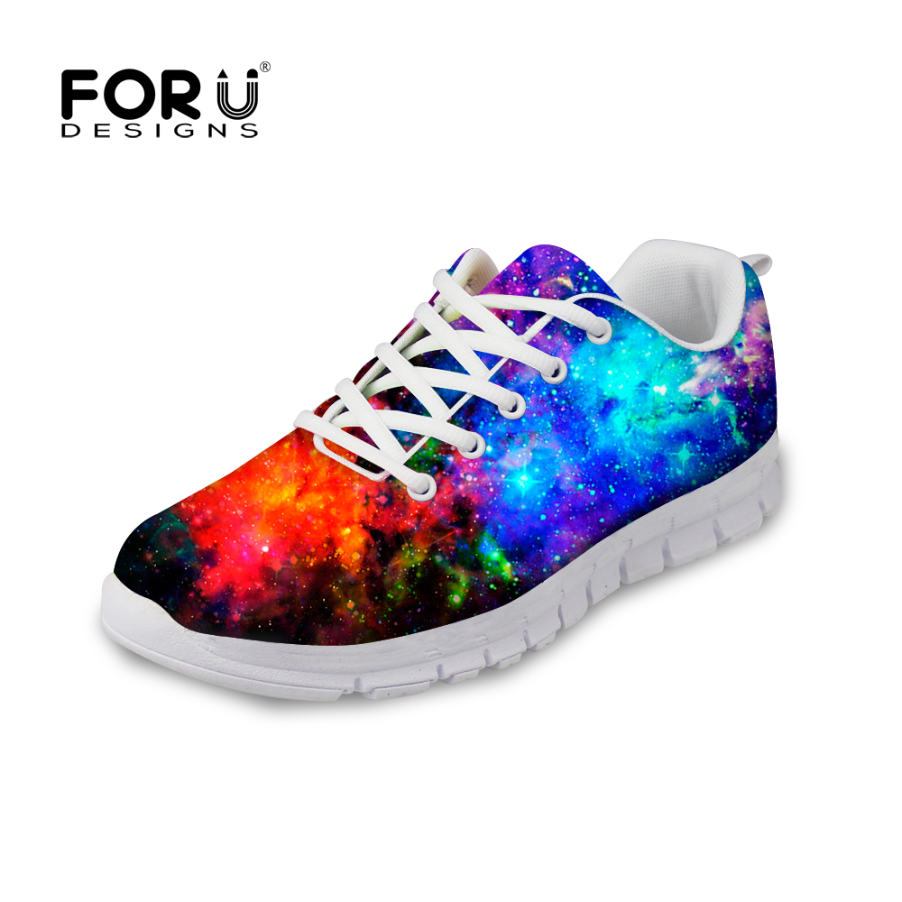 FORUDESIGNS Universe Space Women Flats Shoes Sneakers Spring Lace-up Comfortable Shoes for Women Galaxy Woman Zapatos Casual forudesigns casual women flats shoes woman fashion graffiti design autumn lace up flat shoe for teenage girls zapatos mujer 2017