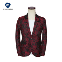 Uomini Flower Stampa Blazer Giacca Casual Vino Rosso Groomsmen Wedding Suit Costume Sottile Homme Cantante Costume Cappotto Giacca Masculino