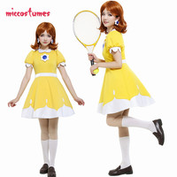 Mario Tennis N64 Princess Daisy Cosplay Costume Dress Yellow Woman Halloween Outfit