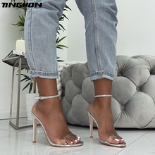 TINGHON New Fashion Sandals Summer Sexy PVC Women Thin High Heels Crystal Open Toe Gladiator Buckle Dress Lady Shoes