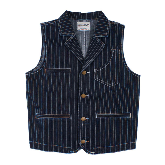 2018 Autumn Winter Vintage Denim Stripe Vest Men Cargo Slim Men Waistcoat Turn-down Collar Multi Pocket Suit Vest Mens Clothing
