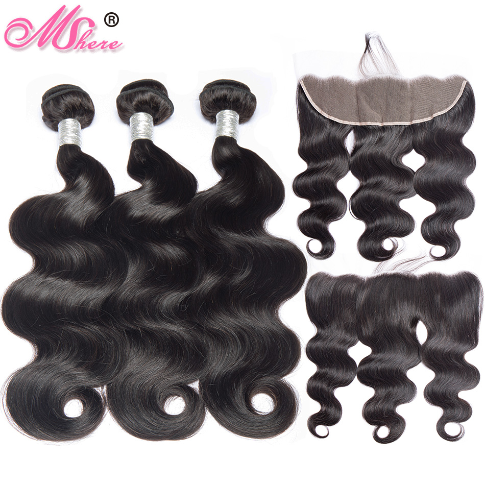 100 Human Hair Bundles With Closure Brazilian Body Wave Human Hair Ear To Ear Lace Frontal
