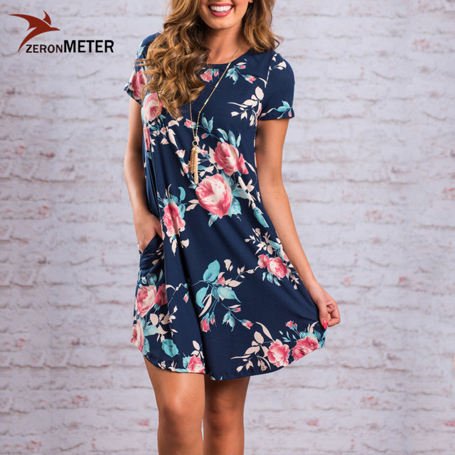 789f0f3e4e Brand Brazilian Floral Print Summer Dress Women 2017 Fashion Pockets A-Line  Dress Femme Short Sleeve T Shirt Dresses Boho Dress