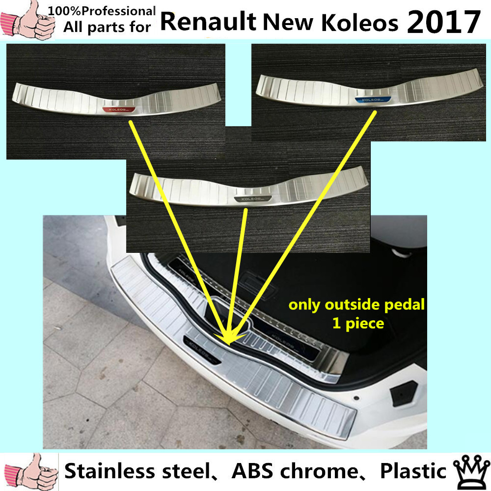 High Quality car body outside Rear Bumper trim styling detector Stainless Steel plate pedal panel 1pcs for Renault Koleos 2017 car styling cover detector stainless steel inner built rear bumper protector trim plate pedal 1pcs for su6aru outback 2015