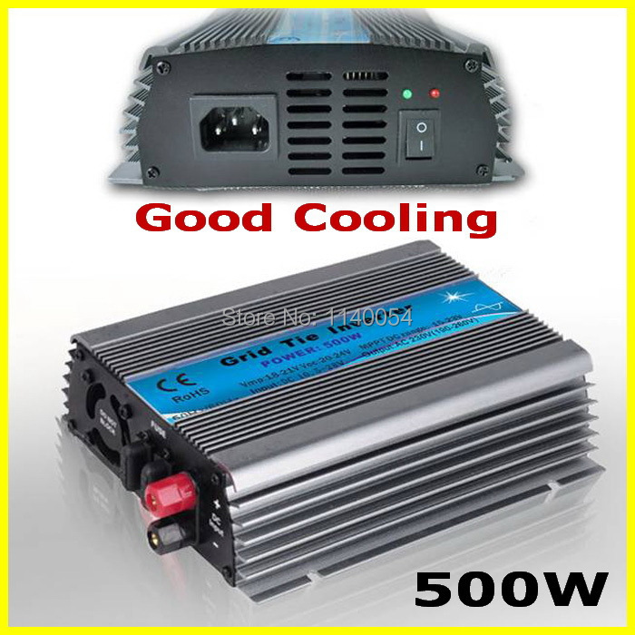 Free Shipping DC10.5-28V to AC110V/220V 500W MPPT Grid Tie Power Inverter usde for 500W-600W 18V PV Modules or Wind Turbine 22 50v dc to ac110v or 220v waterproof 1200w grid tie mppt micro inverter with wireless communication function for 36v pv system
