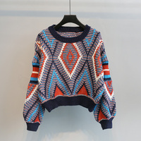 New Winter Fashion Color Women Sweaters And Pullovers Lantern Sleeve Loose Knitted Thickened Pullovers Femme Pull