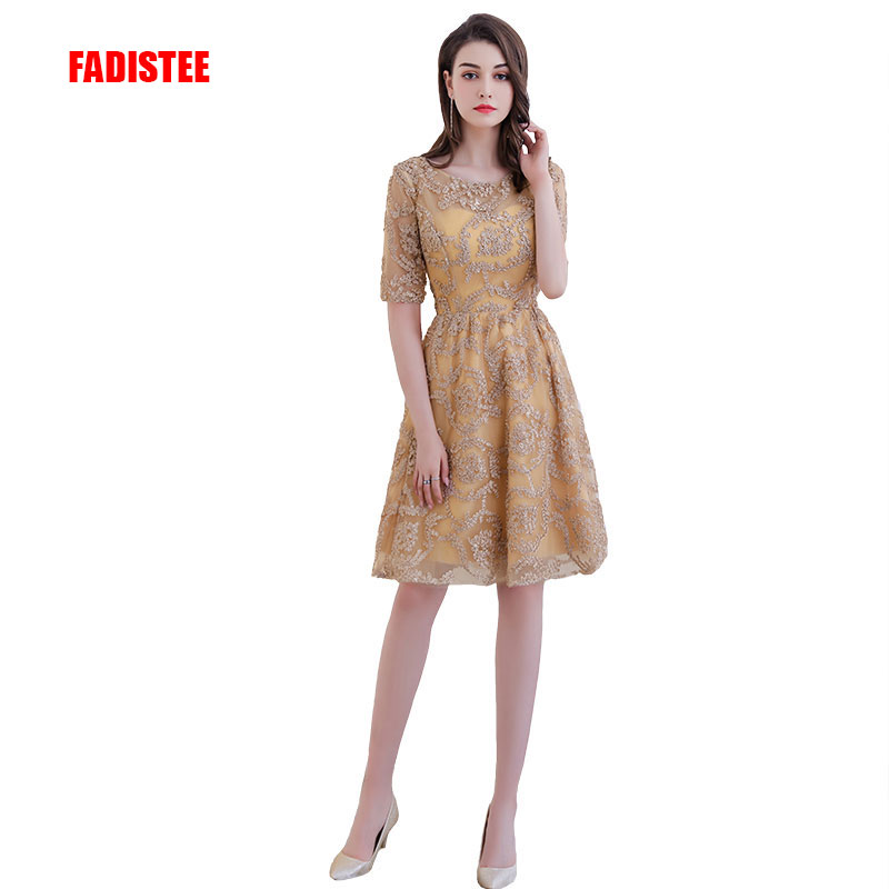 New arrival elegant party mini   cocktail   half sleeves   dress   Vestido de Festa A-line lace Zipper party   dress