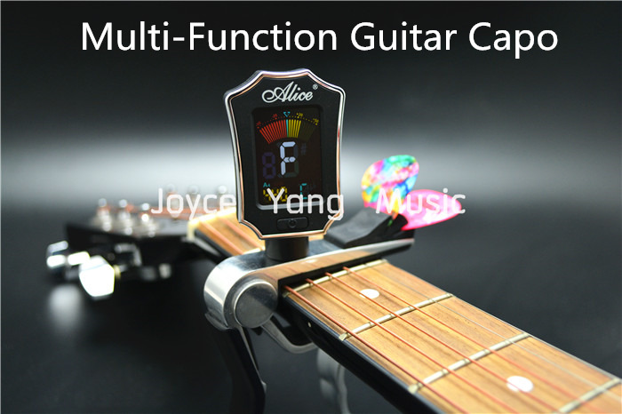 Alice Multifunctional Guitar Capo With Color LCD Digital Tuner And Guitar Picks Holder Free Shipping