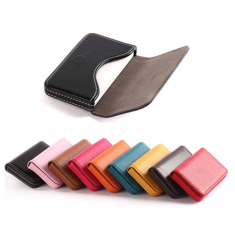 BONAMIE Large Capacity Unisex Business Card Case ID Pouch Women Pu Leather Card Box Man Credit Card Holder Black Brown Dropship