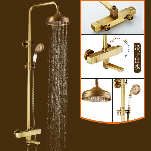 wall mount two handle mixer shower faucet antique brass shower bath hot and cold taps